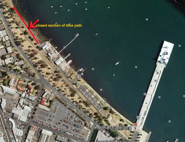 Path closure near Corio Rowing club